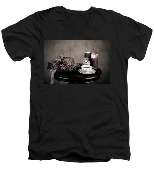 Tea Party Time Men's V-Neck T-Shirt by Sherry Hallemeier