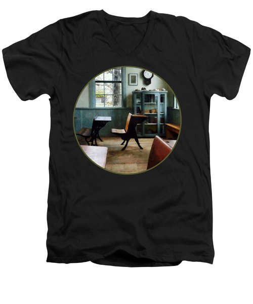 Teacher - One Room Schoolhouse With Clock Men's V-Neck T-Shirt by Susan Savad