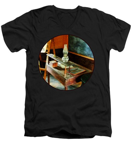 Teacher's Desk With Hurricane Lamp Men's V-Neck T-Shirt