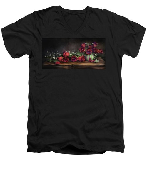 Men's V-Neck T-Shirt featuring the digital art Teapot Roses by Susan Kinney