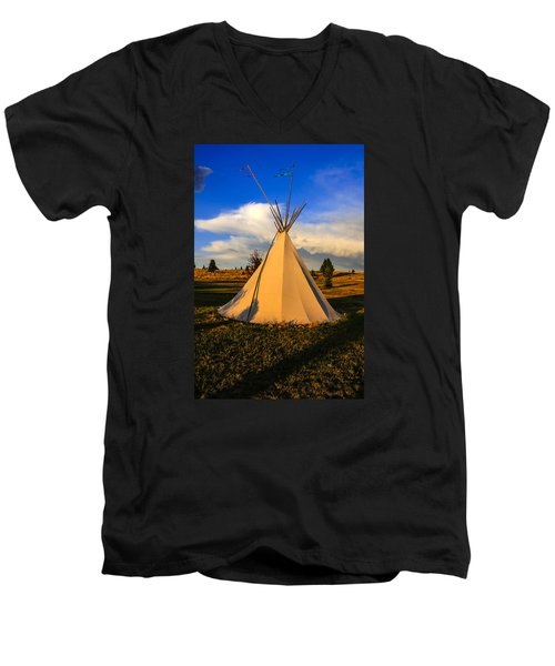 Teepee In Montana Men's V-Neck T-Shirt by Chris Smith