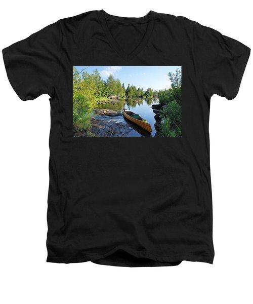 Temperance River Portage Men's V-Neck T-Shirt by Larry Ricker
