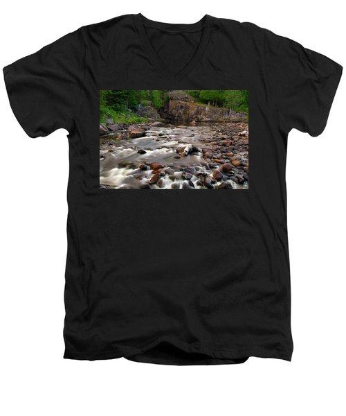 Temperance River Men's V-Neck T-Shirt by Steve Stuller