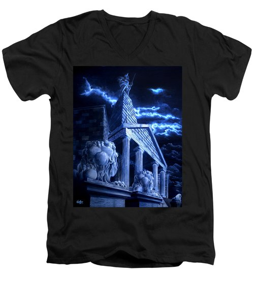 Temple Of Hercules In Kassel Men's V-Neck T-Shirt