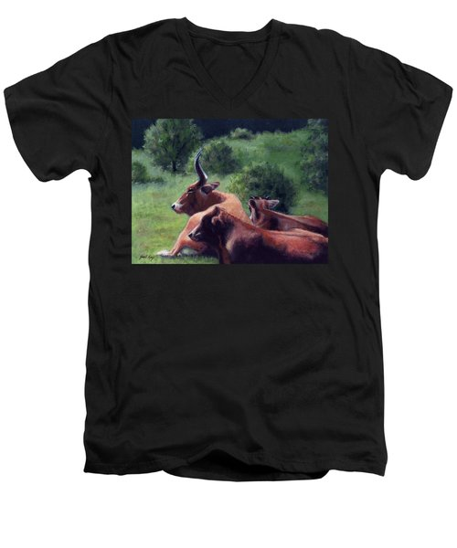 Men's V-Neck T-Shirt featuring the painting Tennessee Longhorn Steers by Janet King