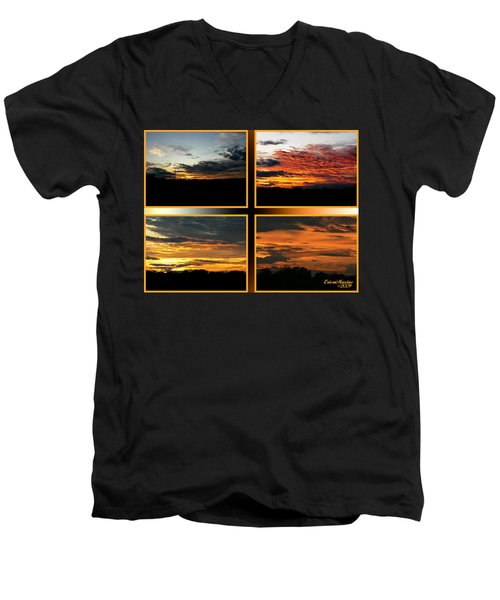 Men's V-Neck T-Shirt featuring the photograph Tennessee Sunset by EricaMaxine  Price