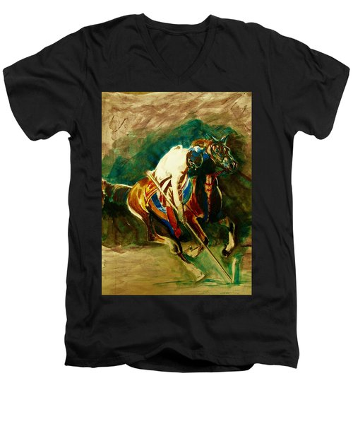 Tent Pegging Sport Men's V-Neck T-Shirt by Khalid Saeed