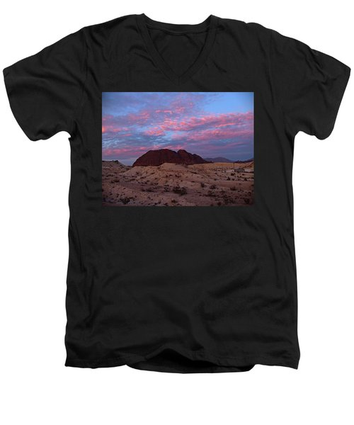 Men's V-Neck T-Shirt featuring the painting Terlingua Sunset by Dennis Ciscel