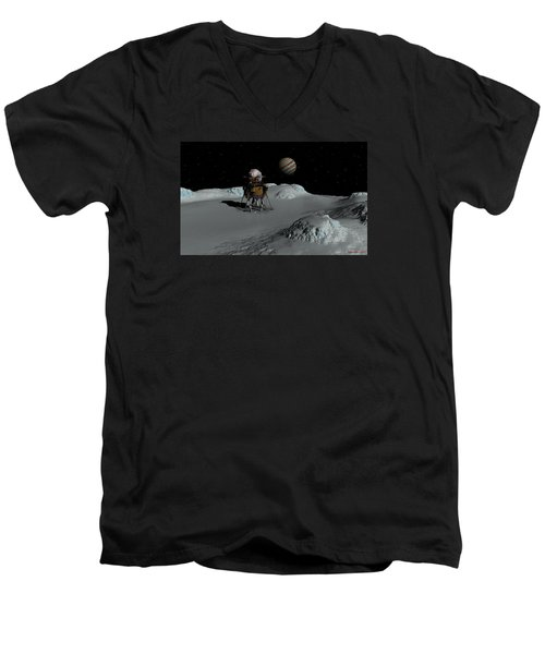 Men's V-Neck T-Shirt featuring the digital art Testing The Waters by David Robinson