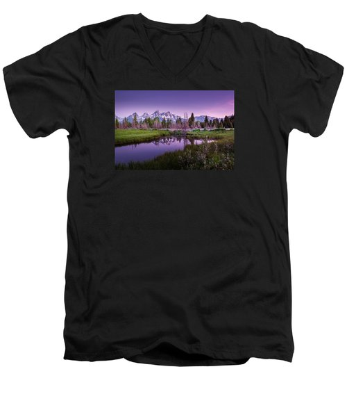 Tetons In Pink Men's V-Neck T-Shirt by Mary Angelini
