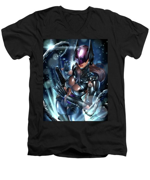 Men's V-Neck T-Shirt featuring the painting Tetsuya Nomura Catwoman by Pete Tapang