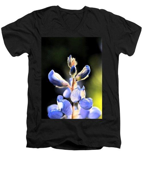 Texas Blue Bonnet Impressions 1 Men's V-Neck T-Shirt by Carolina Liechtenstein