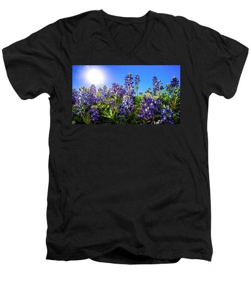 Texas Bluebonnets Backlit II Men's V-Neck T-Shirt by Greg Reed