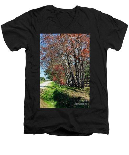 Texas Fall Men's V-Neck T-Shirt by Lori Mellen-Pagliaro
