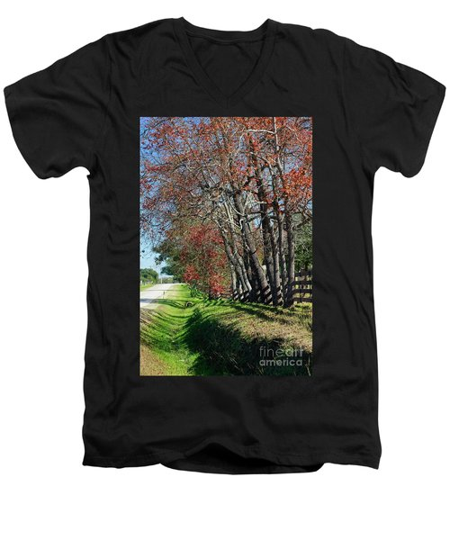 Men's V-Neck T-Shirt featuring the photograph Texas Fall by Lori Mellen-Pagliaro
