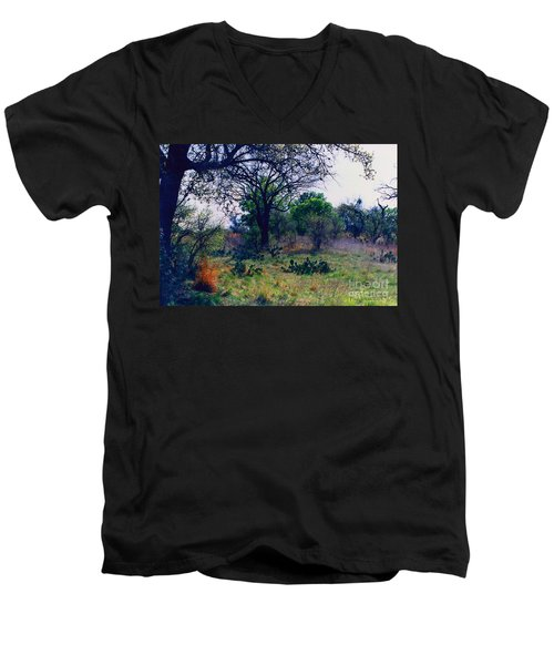 Texas Hill Country Men's V-Neck T-Shirt by Fred Jinkins