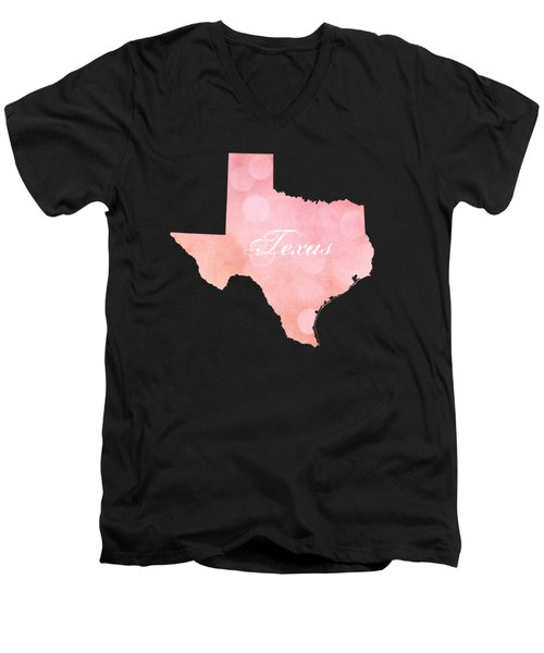 Texas Pink And Coral Bokeh Men's V-Neck T-Shirt