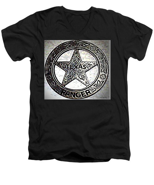Men's V-Neck T-Shirt featuring the photograph Texas Ranger Badge by George Pedro