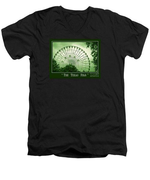Texas Star In Green Men's V-Neck T-Shirt