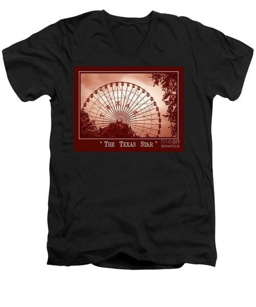 Texas Star In Orange Men's V-Neck T-Shirt