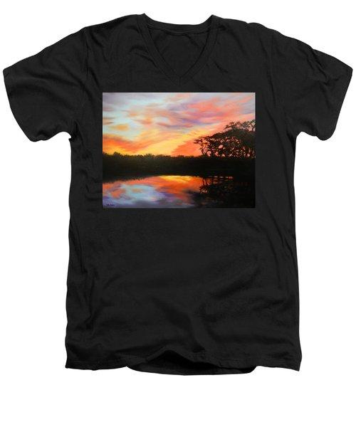 Texas Sunset Silhouette Men's V-Neck T-Shirt by Patti Gordon