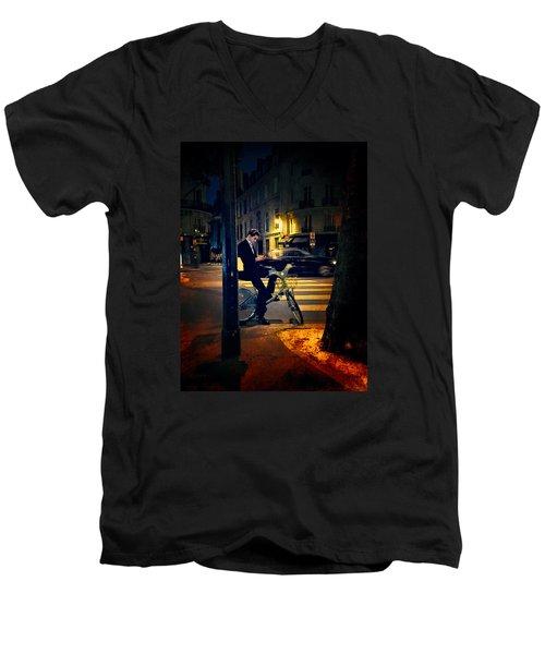 Texting Men's V-Neck T-Shirt by John Rivera