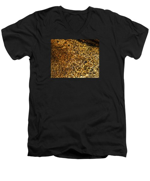 Men's V-Neck T-Shirt featuring the photograph Texture Of A Stream by Lynda Lehmann
