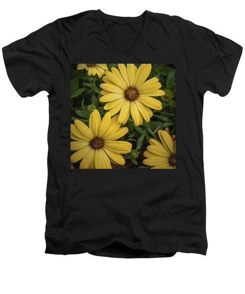 Textured Floral Men's V-Neck T-Shirt