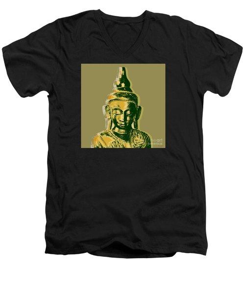 Men's V-Neck T-Shirt featuring the digital art Thai Buddha #4 Pop Art Warhol Style Print.  by Jean luc Comperat
