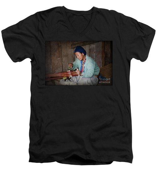 Men's V-Neck T-Shirt featuring the photograph Thai Weaving Tradition by Heiko Koehrer-Wagner