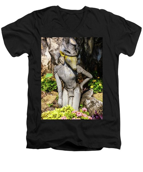 Thai Yoga Statue With Animal Head At Wat Pho Temple Men's V-Neck T-Shirt