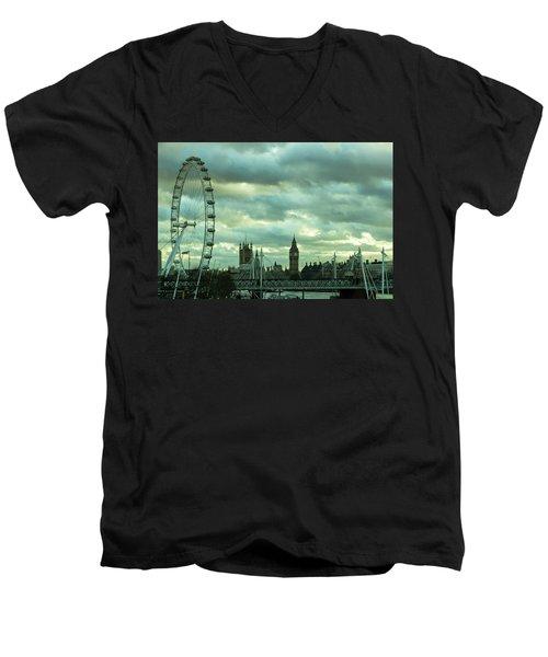 Thames View 1 Men's V-Neck T-Shirt by Steven Richman