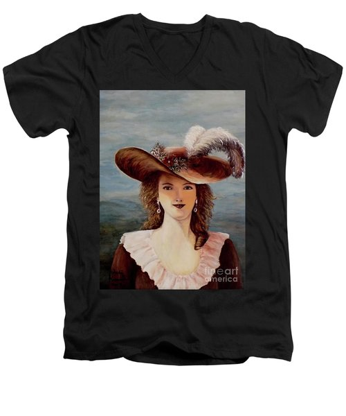 Men's V-Neck T-Shirt featuring the painting That Feather In Her Hat by Judy Kirouac