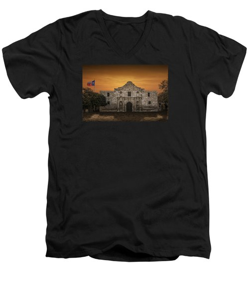 The Alamo Mission In San Antonio Men's V-Neck T-Shirt by Randall Nyhof
