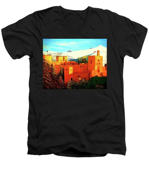 The Alhambra Of Granada Men's V-Neck T-Shirt by Manuel Sanchez
