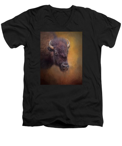The American Bison II Men's V-Neck T-Shirt by David and Carol Kelly
