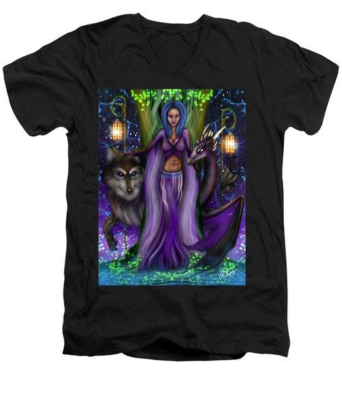 The Animal Goddess Fantasy Art Men's V-Neck T-Shirt
