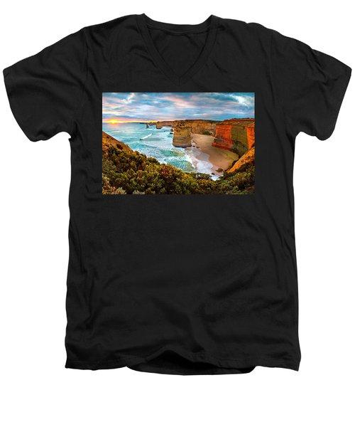 The Apostles Sunset Men's V-Neck T-Shirt