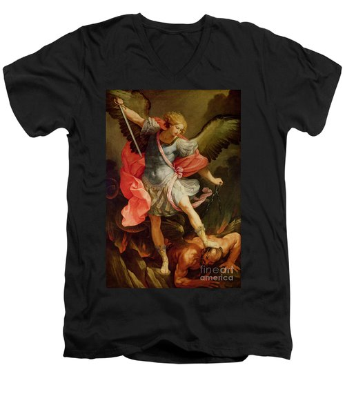 The Archangel Michael Defeating Satan Men's V-Neck T-Shirt