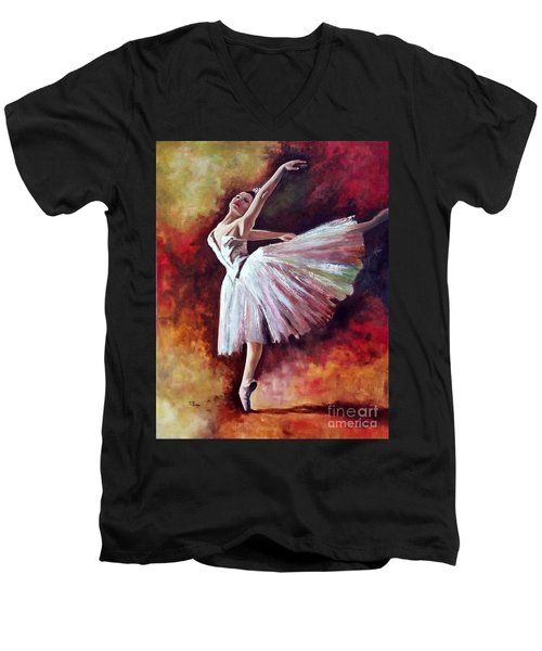 Men's V-Neck T-Shirt featuring the painting The Dancer Tilting - Adaptation Of Degas Artwork by Rosario Piazza