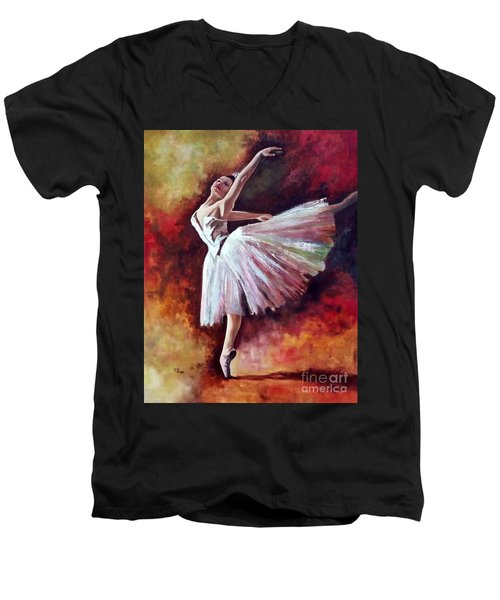 The Dancer Tilting - Adaptation Of Degas Artwork Men's V-Neck T-Shirt
