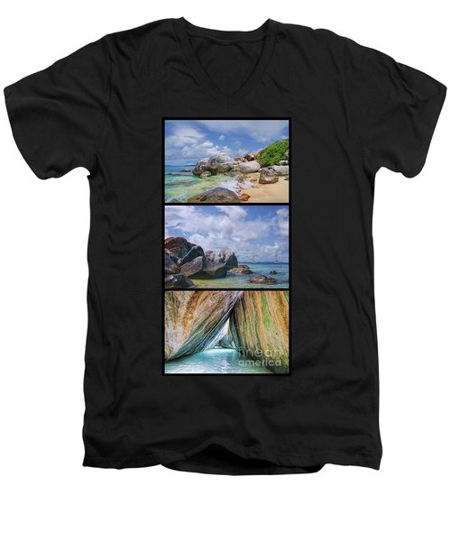 The Baths Virgin Gorda National Park Triptych Men's V-Neck T-Shirt by Olga Hamilton
