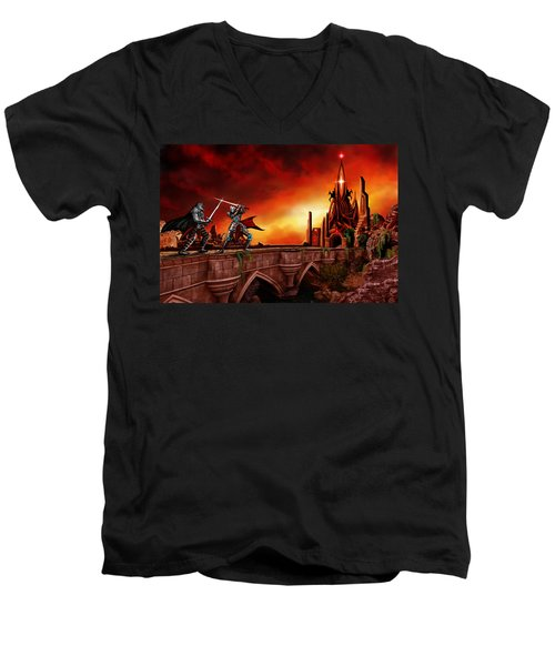 Men's V-Neck T-Shirt featuring the painting The Battle For The Crystal Castle by James Christopher Hill