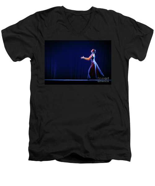 Men's V-Neck T-Shirt featuring the photograph The Beautiful Ballerina Dancing In Blue Long Dress by Dimitar Hristov