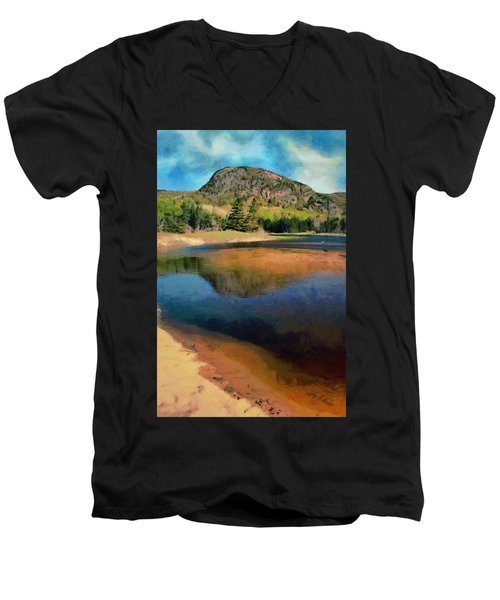 Men's V-Neck T-Shirt featuring the painting The Beehive by Jeff Kolker