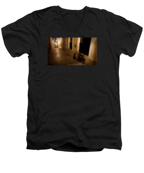 Men's V-Neck T-Shirt featuring the photograph The Bicycle And The Brick Road by DigiArt Diaries by Vicky B Fuller
