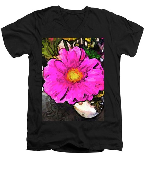 The Big Pink And Yellow Flower In The Little Vase Men's V-Neck T-Shirt