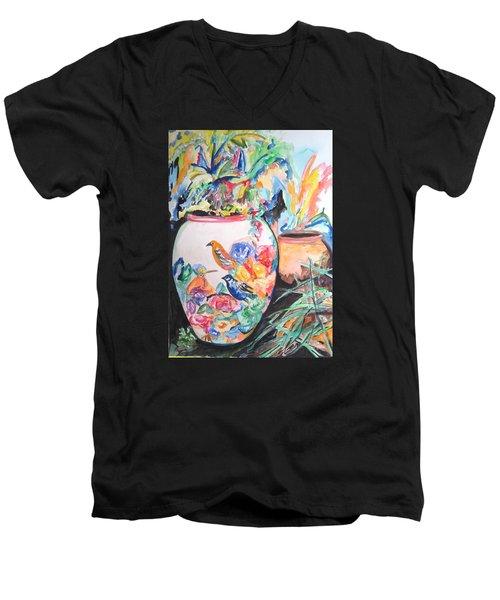 The Bird Flower Pot Men's V-Neck T-Shirt by Esther Newman-Cohen
