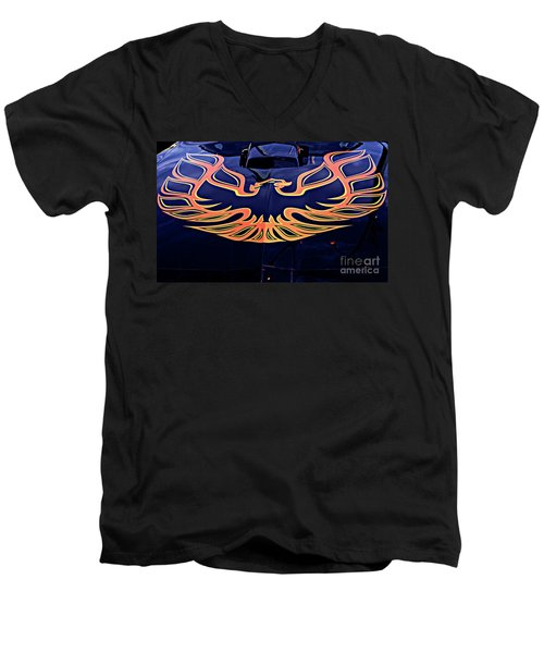 Men's V-Neck T-Shirt featuring the photograph The Bird - Pontiac Trans Am by Jane Eleanor Nicholas