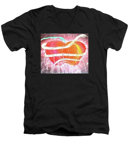 The Bleeding Heart Of The Illuminated Forbidden Fruit Men's V-Neck T-Shirt by Talisa Hartley